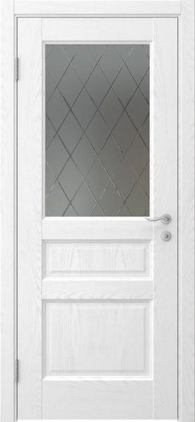 Межкомнатная дверь FK016 (шпон ясень белый / стекло с гравировкой)