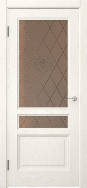 Межкомнатная дверь FK016 (шпон ясень слоновая кость / стекло бронзовое с гравировкой)