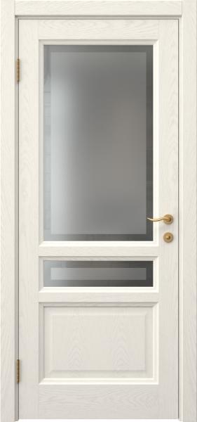 Межкомнатная дверь FK016 (шпон ясень слоновая кость / стекло рамка)