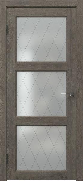 Межкомнатная дверь FK017 (экошпон «серый дуб» / матовое стекло ромб)