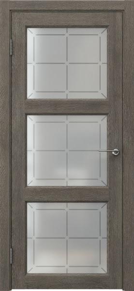 Межкомнатная дверь FK017 (экошпон «серый дуб» / стекло решетка)