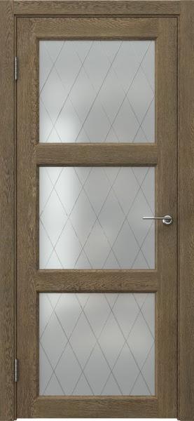Межкомнатная дверь FK017 (экошпон «дуб антик» / матовое стекло ромб)