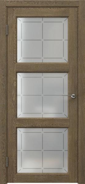 Межкомнатная дверь FK017 (экошпон «дуб антик» / стекло решетка)