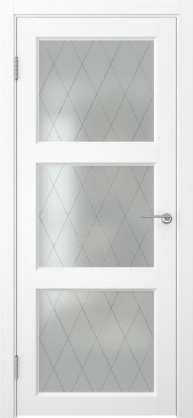 Межкомнатная дверь FK017 (экошпон «ясень белый» / матовое стекло ромб)