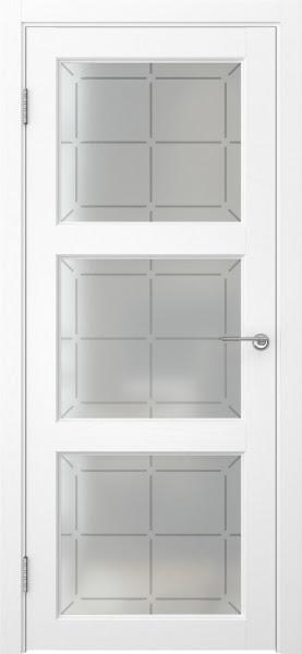 Межкомнатная дверь FK017 (экошпон «ясень белый» / стекло решетка)