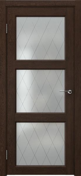 Межкомнатная дверь FK017 (экошпон «дуб шоколад» / матовое стекло ромб)