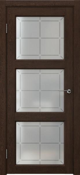 Межкомнатная дверь FK017 (экошпон «дуб шоколад» / стекло решетка)