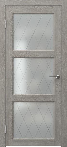 Межкомнатная дверь FK017 (экошпон «дымчатый дуб» / матовое стекло ромб)