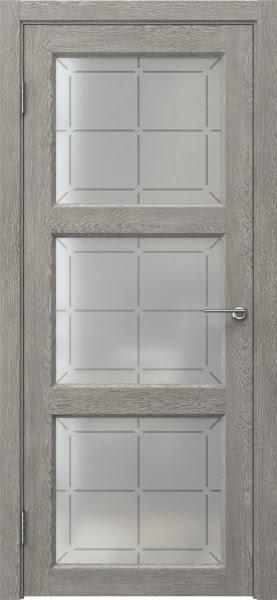 Межкомнатная дверь FK017 (экошпон «дымчатый дуб» / стекло решетка)