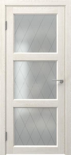 Межкомнатная дверь FK017 (экошпон «белый дуб» / матовое стекло ромб)