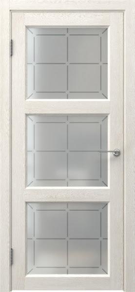 Межкомнатная дверь FK017 (экошпон «белый дуб» / стекло решетка)