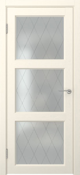 Межкомнатная дверь FK017 (экошпон «ваниль» / матовое стекло ромб)