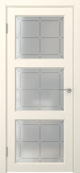 Межкомнатная дверь FK017 (экошпон «ваниль» / стекло решетка)