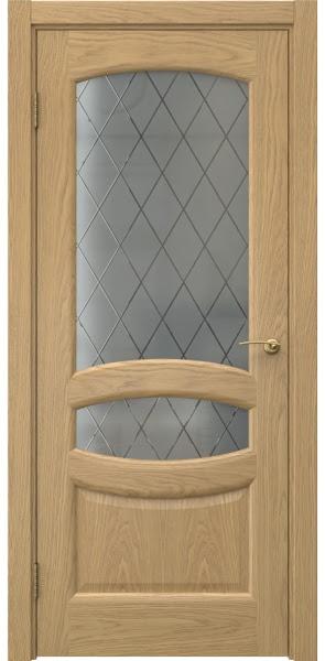 Межкомнатная дверь FK030 (натуральный шпон дуба / стекло: сатинат ромб)