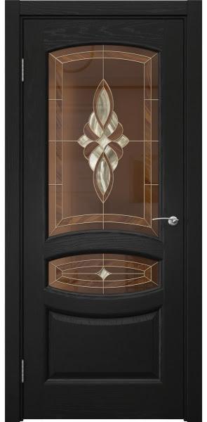 Межкомнатная дверь FK030 (шпон ясень черный / витраж)