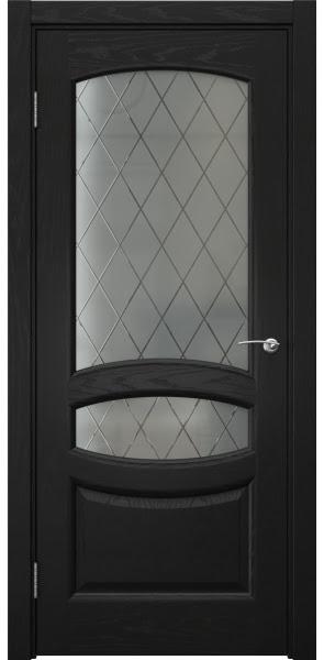 Межкомнатная дверь FK030 (шпон ясень черный / стекло: сатинат ромб)