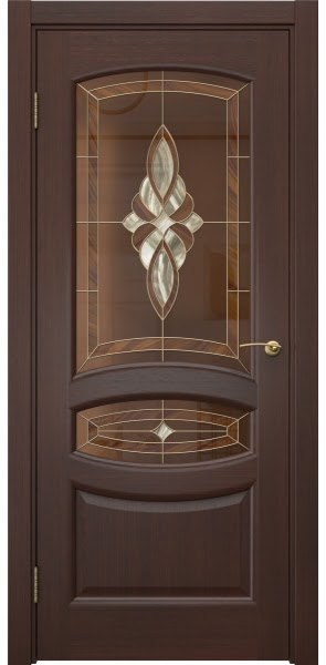 Межкомнатная дверь FK030 (шпон итальянский орех / витраж)