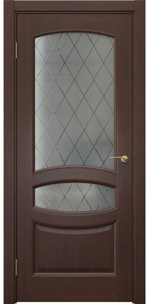Межкомнатная дверь FK030 (шпон итальянский орех / стекло: сатинат ромб)