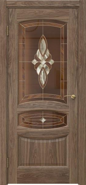 Межкомнатная дверь FK030 (шпон американский орех / витраж)