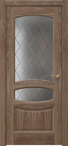 Межкомнатная дверь FK030 (шпон американский орех / стекло: сатинат ромб)