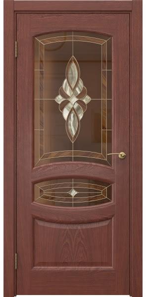 Межкомнатная дверь FK030 (шпон красное дерево / витраж)