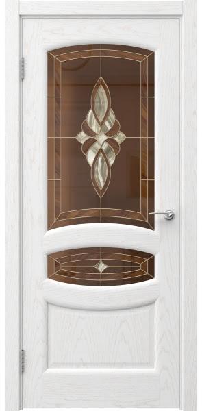 Межкомнатная дверь FK030 (шпон ясень белый / витраж)