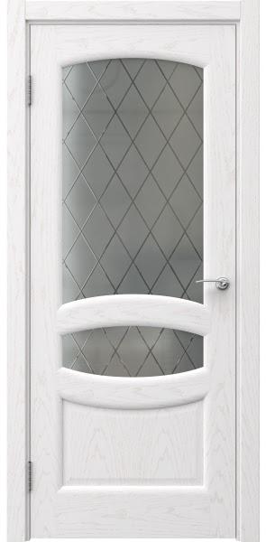 Межкомнатная дверь FK030 (шпон ясень белый / стекло: сатинат ромб)