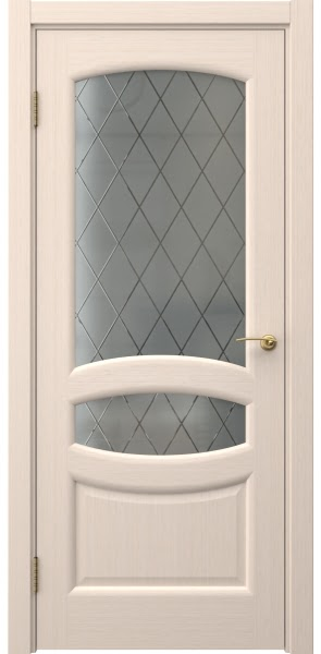 Межкомнатная дверь FK030 (шпон беленый дуб / стекло: сатинат ромб)