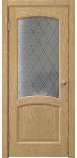 Межкомнатная дверь FK031 (натуральный шпон дуба / стекло: сатинат ромб)