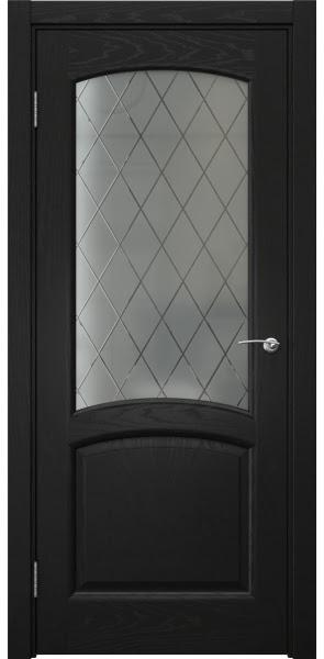Межкомнатная дверь FK031 (шпон ясень черный / стекло: сатинат ромб)