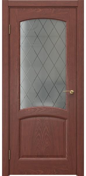 Межкомнатная дверь FK031 (шпон красное дерево / стекло: сатинат ромб)