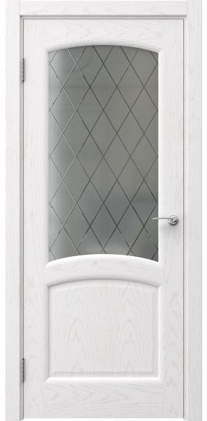 Межкомнатная дверь FK031 (шпон ясень белый / стекло: сатинат ромб)