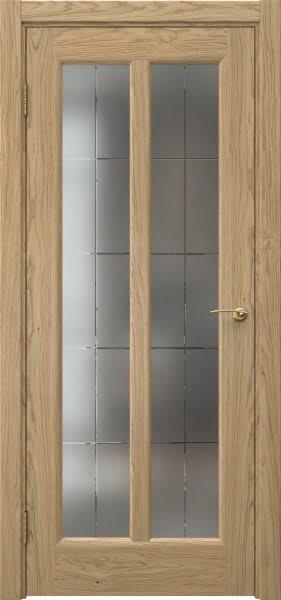 Межкомнатная дверь FK032 (натуральный шпон дуба / сатинат с гравировкой решетка)