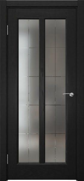 Межкомнатная дверь FK032 (шпон ясень черный / сатинат с гравировкой решетка)