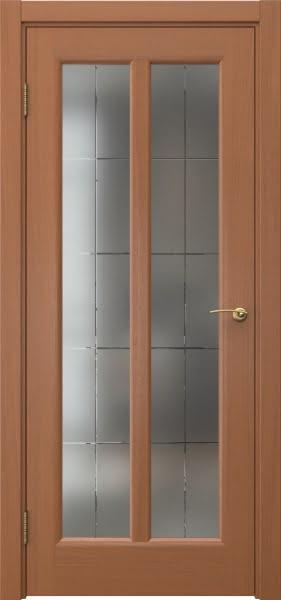 Межкомнатная дверь FK032 (шпон анегри / сатинат с гравировкой решетка)