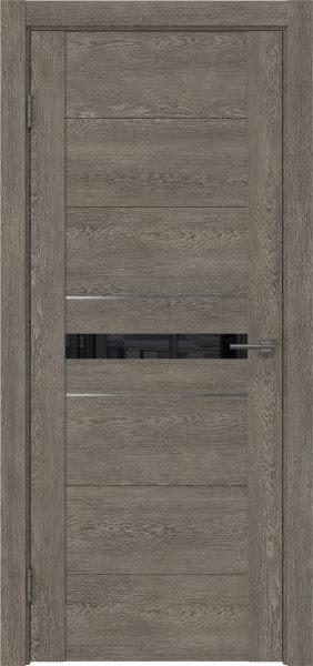 Межкомнатная дверь GM003 (экошпон «серый дуб» / лакобель черный)