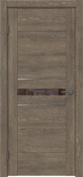 Межкомнатная дверь GM003 (экошпон «дуб антик» / лакобель коричневый)