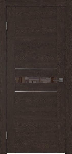 Межкомнатная дверь GM003 (экошпон «дуб шоколад» / лакобель коричневый)