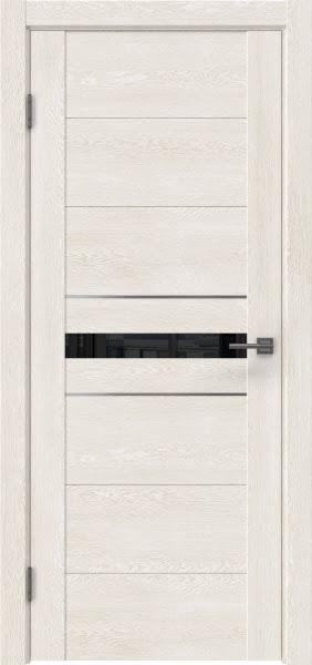 Межкомнатная дверь GM003 (экошпон «белый дуб» / лакобель черный)