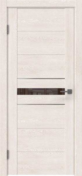 Межкомнатная дверь GM003 (экошпон «белый дуб» / лакобель коричневый)
