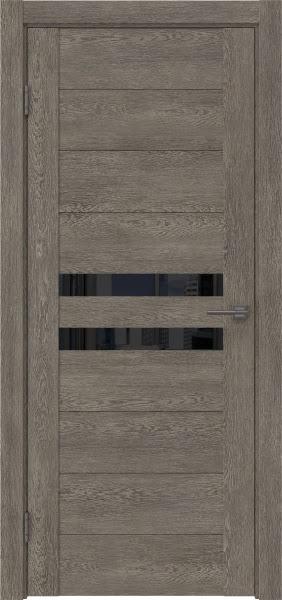 Межкомнатная дверь GM004 (экошпон «серый дуб» / лакобель черный)