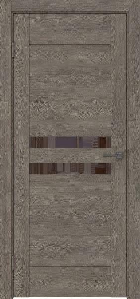 Межкомнатная дверь GM004 (экошпон «серый дуб» / лакобель коричневый)