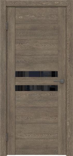 Межкомнатная дверь GM004 (экошпон «дуб антик» / лакобель черный)