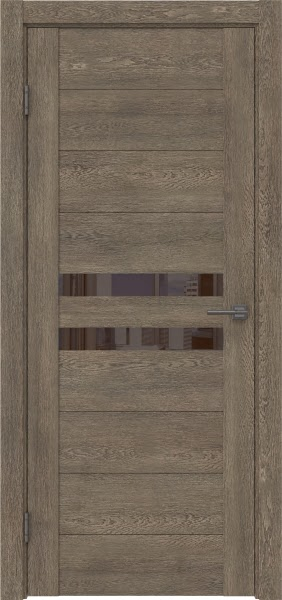 Межкомнатная дверь GM004 (экошпон «дуб антик» / лакобель коричневый)