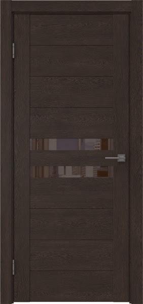 Межкомнатная дверь GM004 (экошпон «дуб шоколад» / лакобель коричневый)