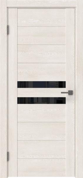 Межкомнатная дверь GM004 (экошпон «белый дуб» / лакобель черный)