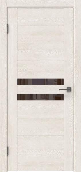 Межкомнатная дверь GM004 (экошпон «белый дуб» / лакобель коричневый)