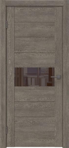 Межкомнатная дверь GM005 (экошпон «серый дуб» / лакобель коричневый)