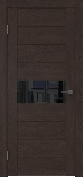 Межкомнатная дверь GM005 (экошпон «дуб шоколад» / лакобель черный)