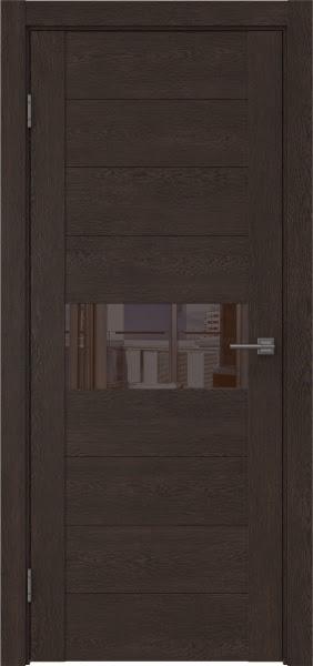 Межкомнатная дверь GM005 (экошпон «дуб шоколад» / лакобель коричневый)